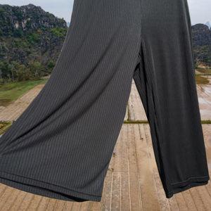 Pullon Elastic Wide Leg Pant Cropped Capri Black